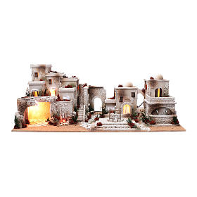 Settings, houses, workshops, wells: Arabian nativity scene setting  35x95x45 cm with lights and fountain