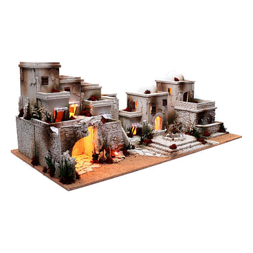 Arabian nativity scene setting  35x95x45 cm with lights and fountain 3