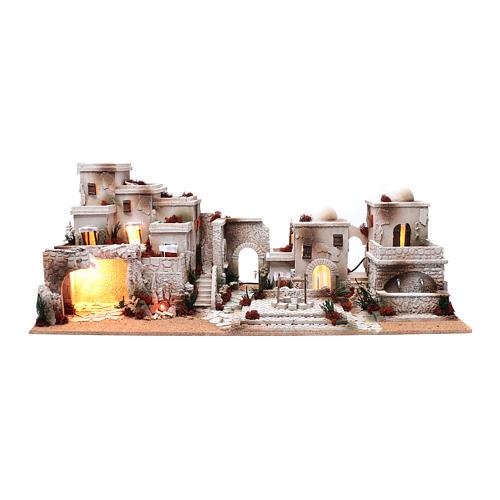 Décor crèche style arabe 33x97x45 cm éclairage et puits 1