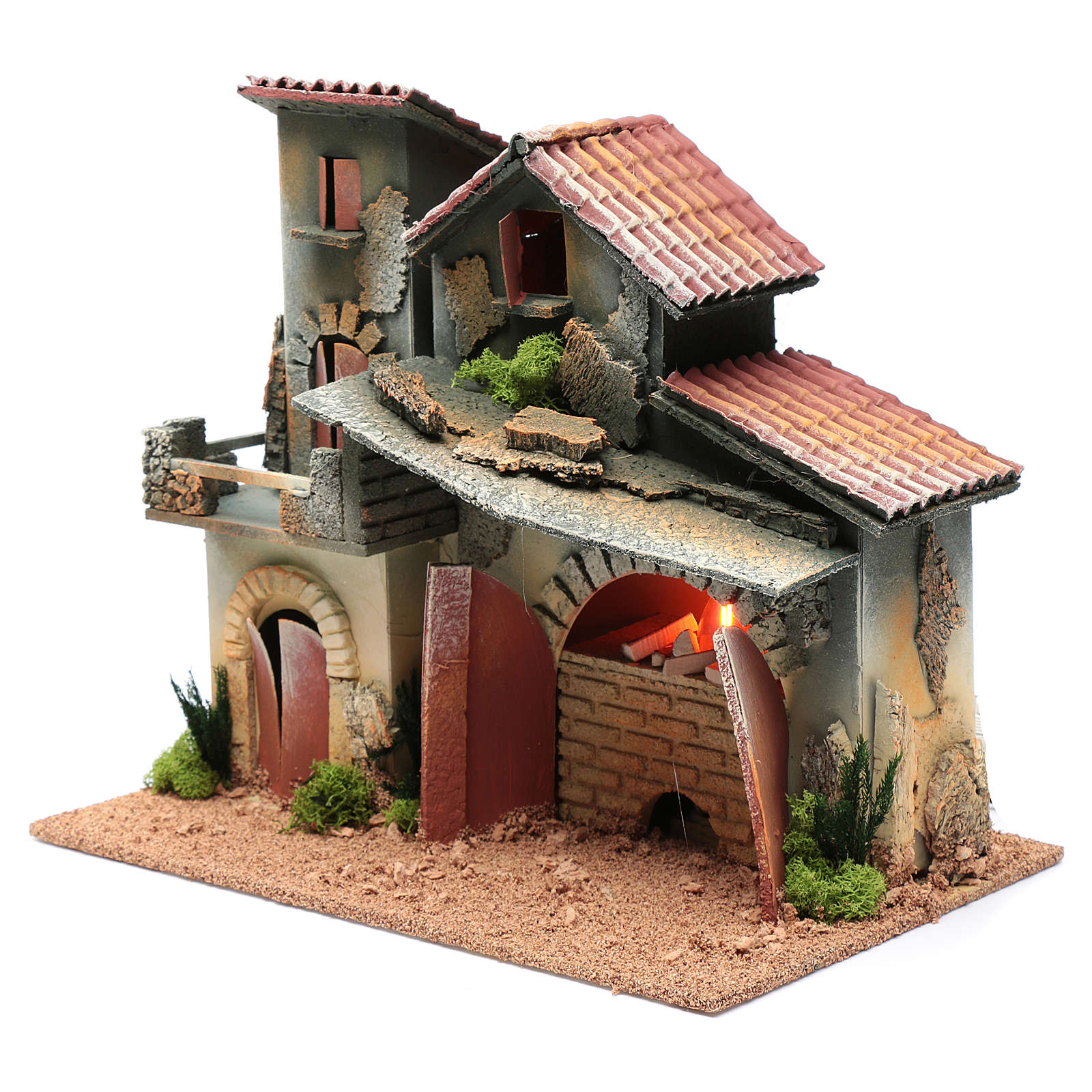 Décor avec cheminée et éclairage 24,5x30x20 cm 4