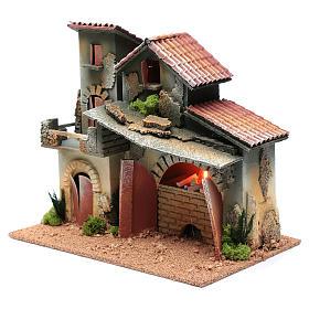 Décor avec cheminée et éclairage 24,5x30x20 cm s2
