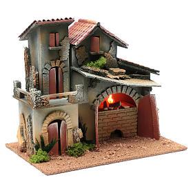 Décor avec cheminée et éclairage 24,5x30x20 cm s3