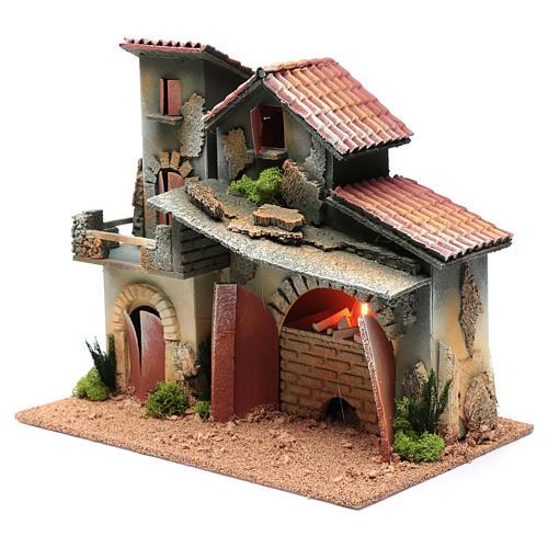Décor avec cheminée et éclairage 24,5x30x20 cm 2