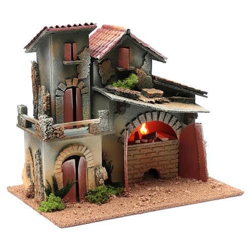 Décor avec cheminée et éclairage 24,5x30x20 cm 3
