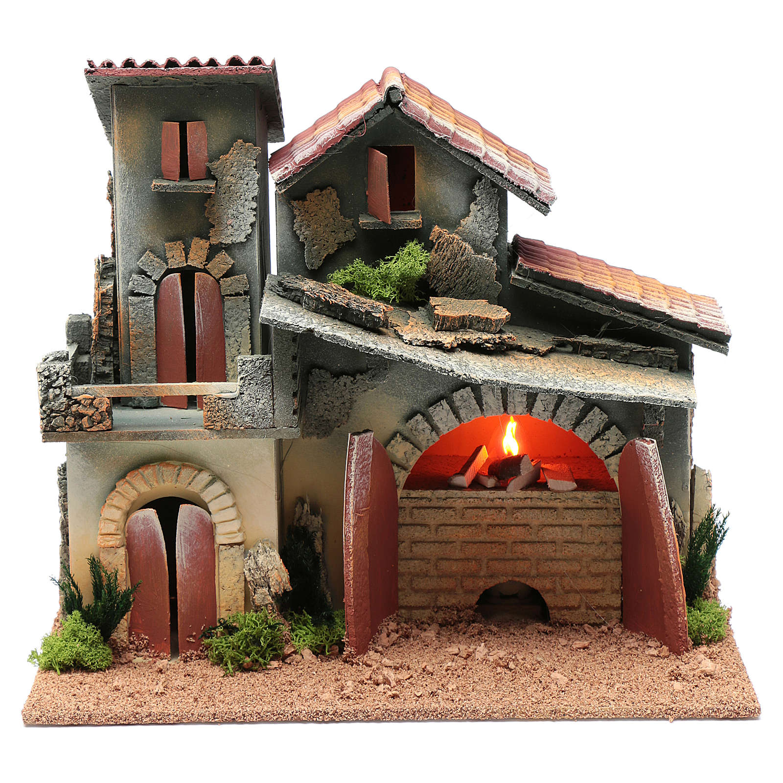 Nativity scene setting with fireplace and light  25x30x20 cm 4