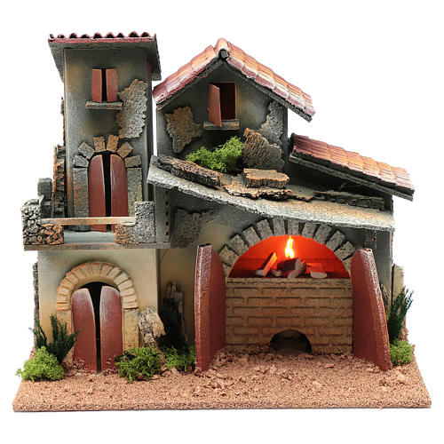 Nativity scene setting with fireplace and light  25x30x20 cm 1