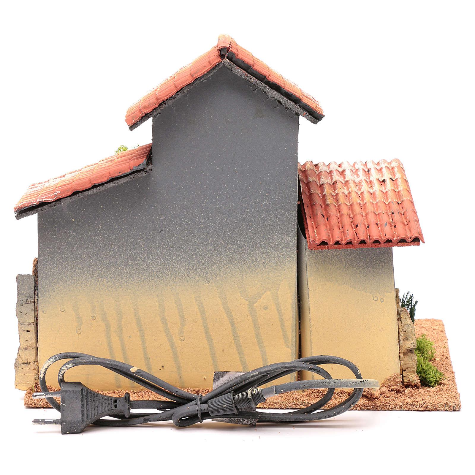 Décor cabane avec étagères et éclairage 24,5x30x20 cm 4