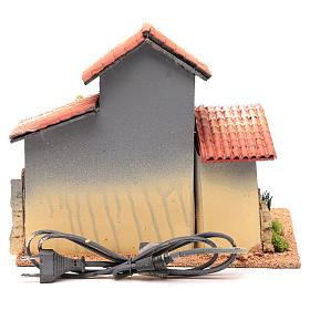 Décor cabane avec étagères et éclairage 24,5x30x20 cm s4