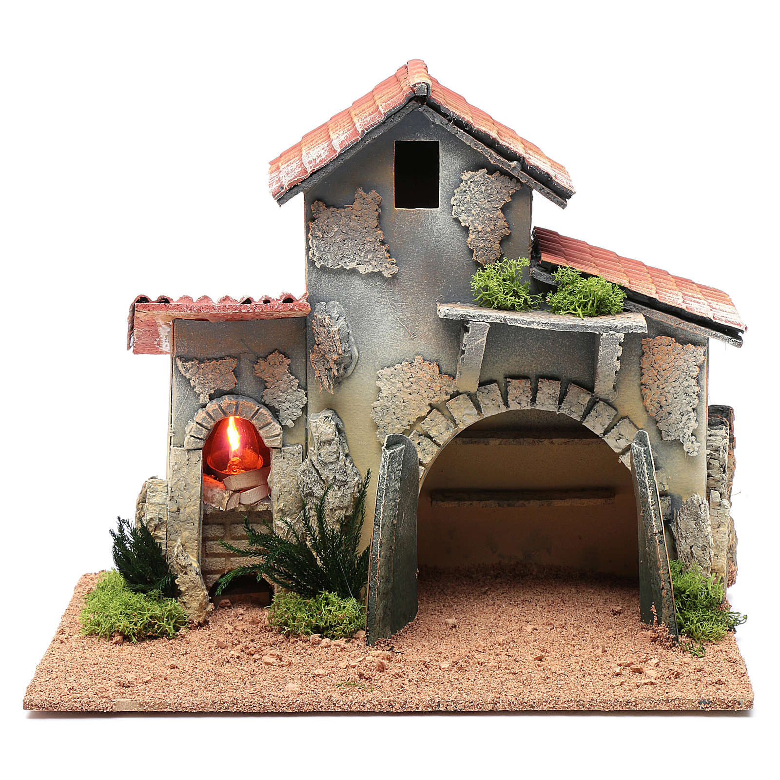 Nativity scene hut with shelves and light 25x30x20 cm 4