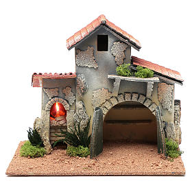 Nativity scene hut with shelves and light 25x30x20 cm s1