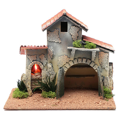 Nativity scene hut with shelves and light 25x30x20 cm 1