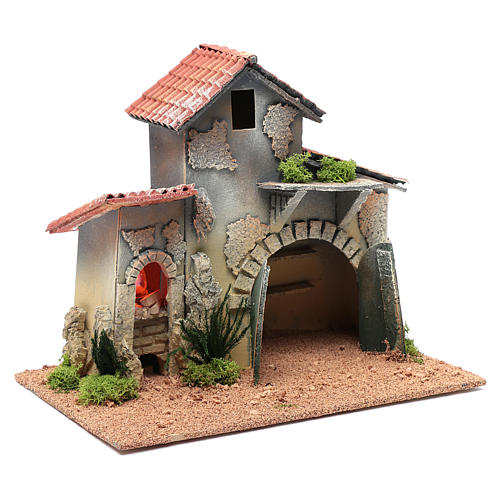 Nativity scene hut with shelves and light 25x30x20 cm 3