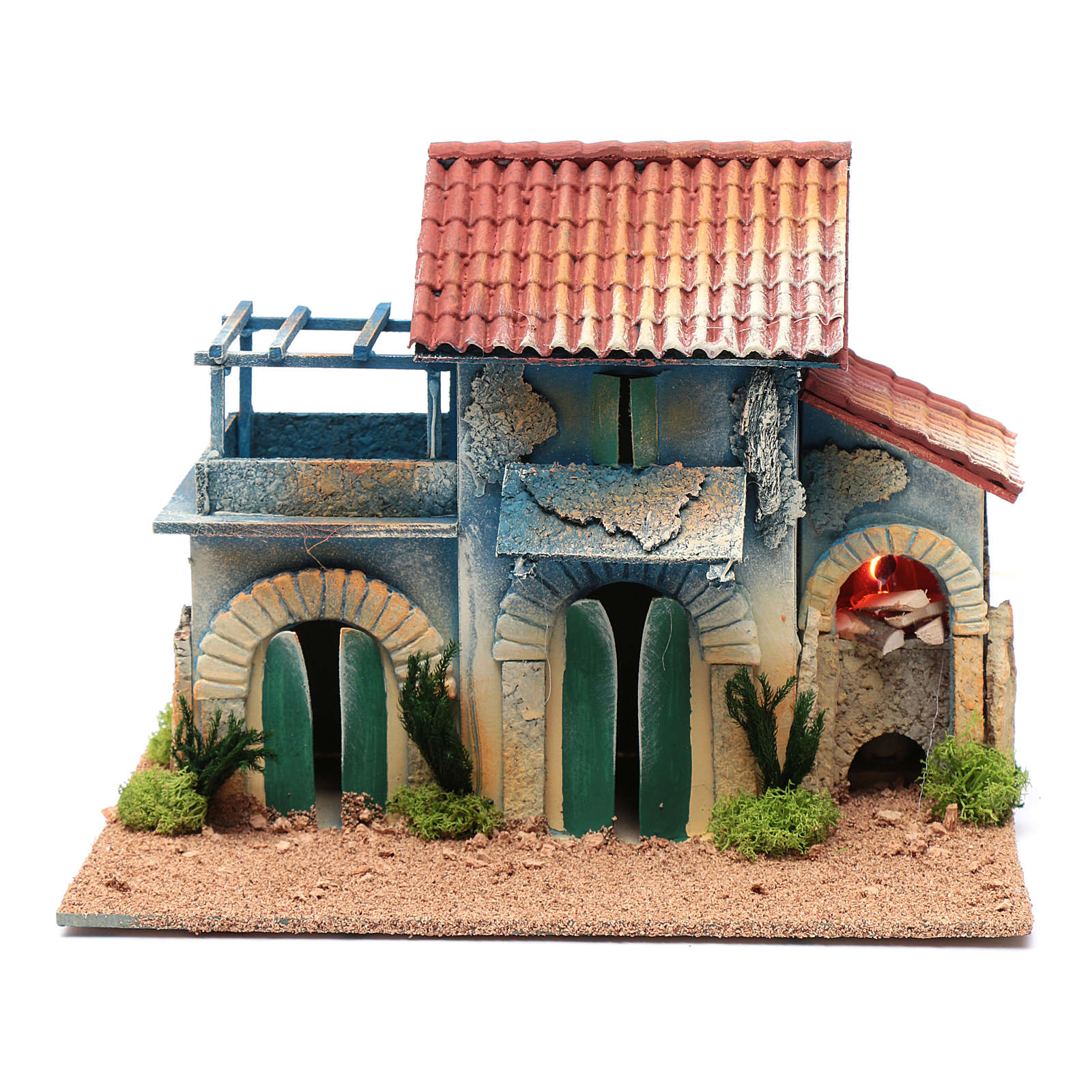 Nativity scene setting with terrace and light  25x30x20 cm 4