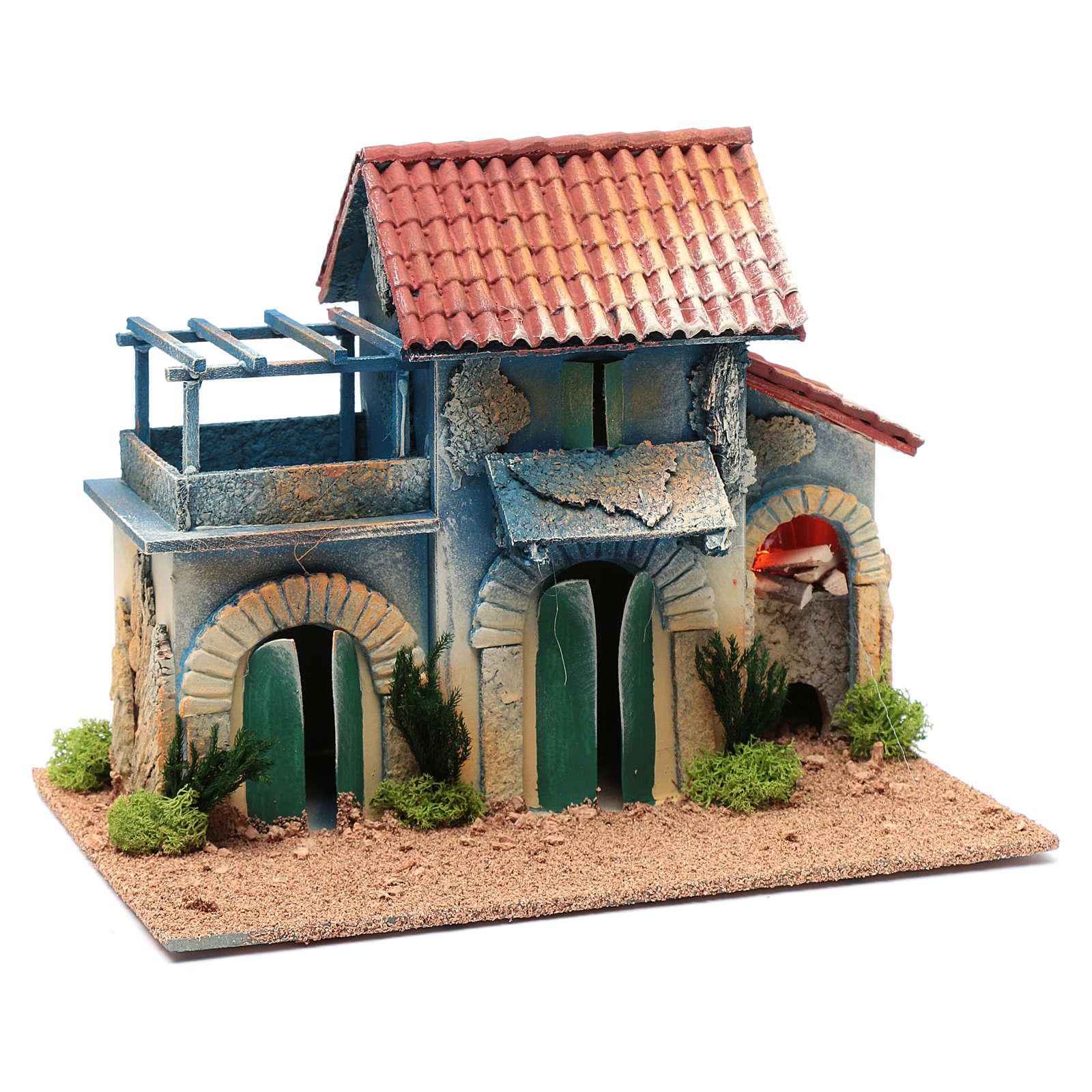 Décor cheminée éclairage et terrasse 22,5x30x20 cm 4