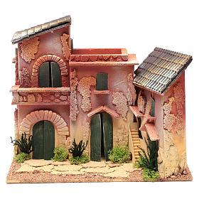 Village maisons 24,5x30x20 cm pour crèche s1