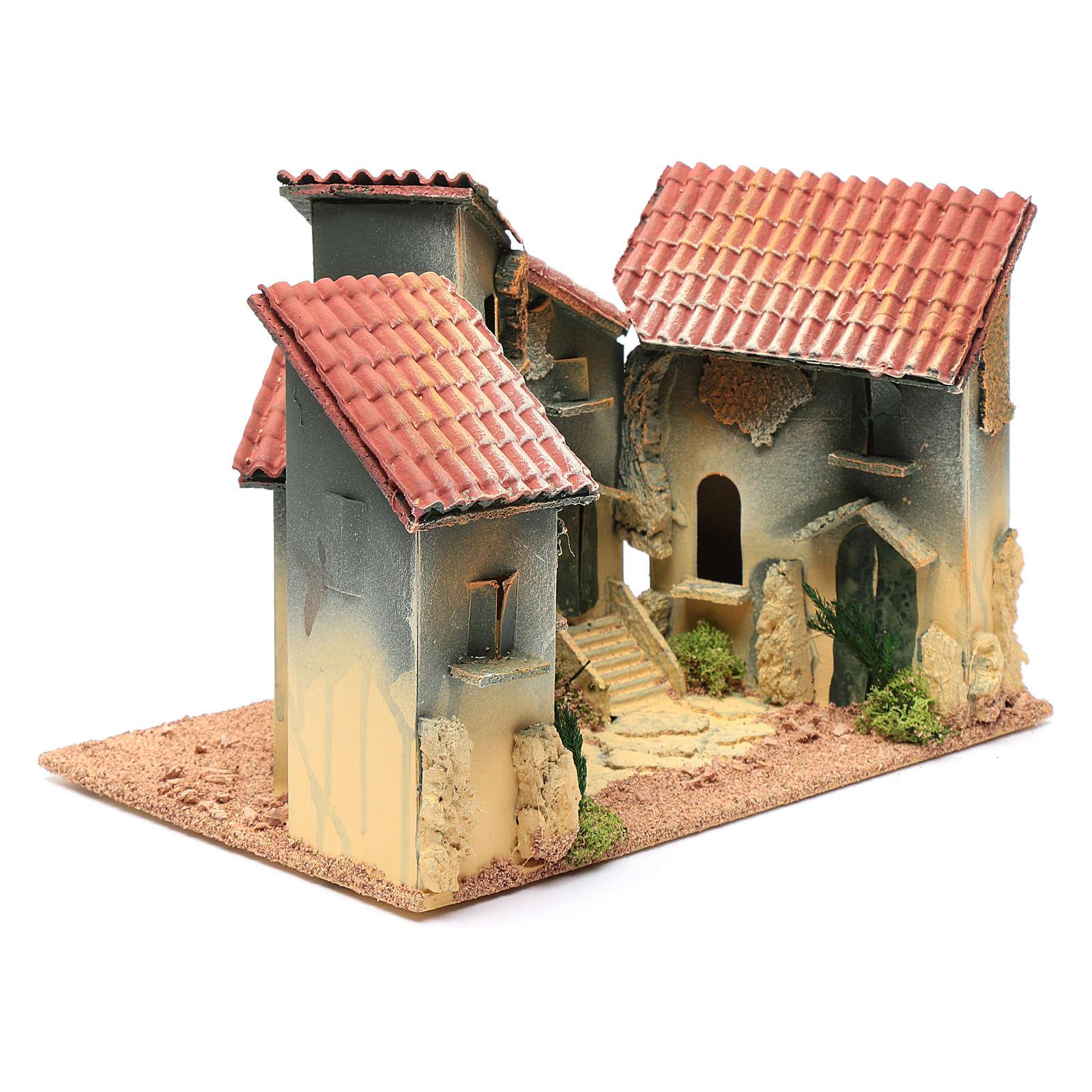 Wohnblock mit Bogengang 25x30x20cm für Krippe 4