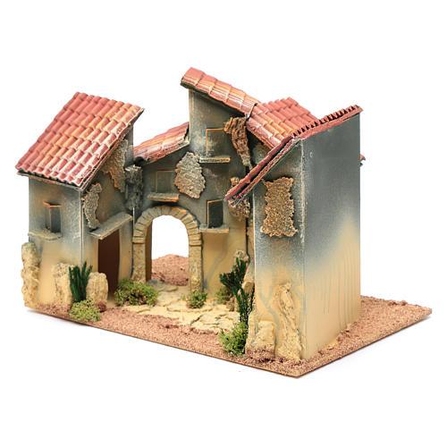 Nativity scene village with arch 25x30x20 cm 2
