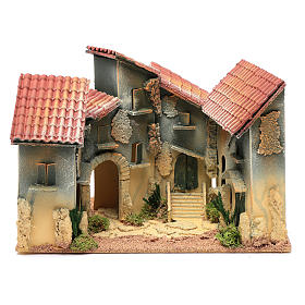 Aldea casas y arco 25x30x20 cm para belén s1