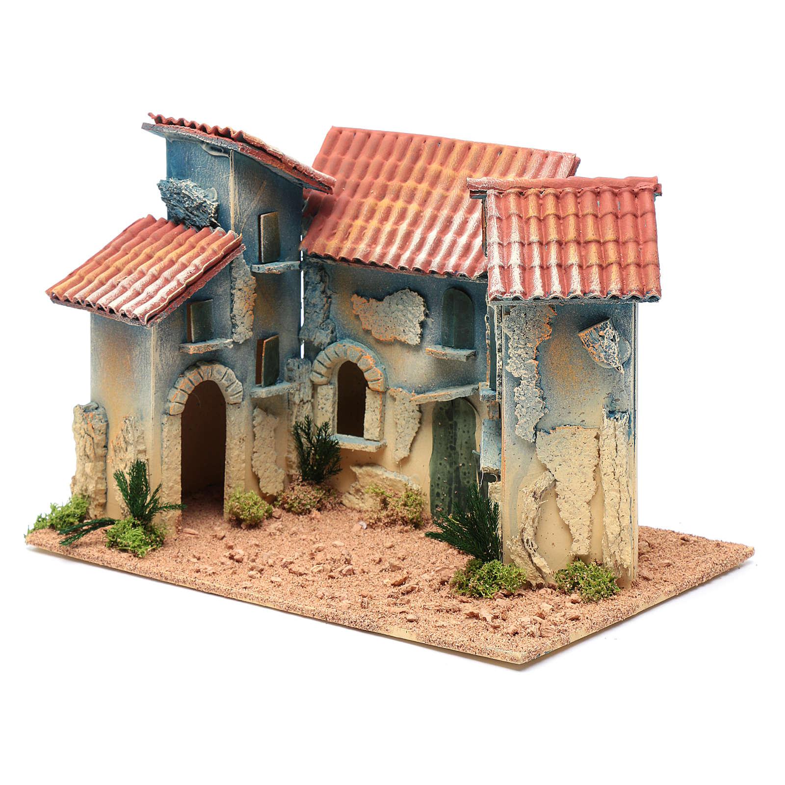 Aldea casas y pequeña cabaña 20x30x20 cm 4