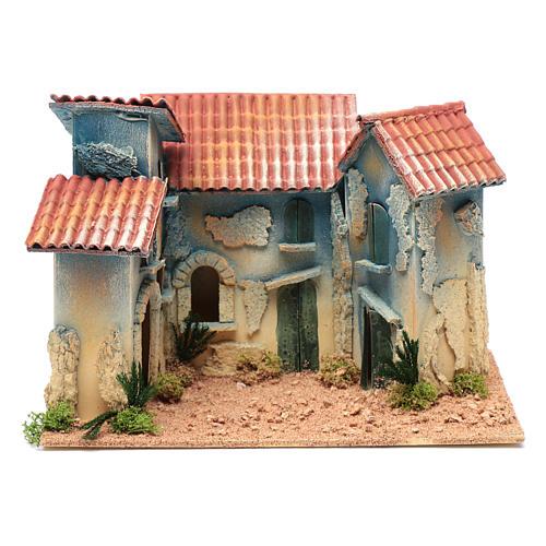 Aldea casas y pequeña cabaña 20x30x20 cm 1