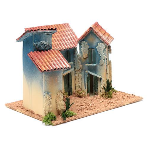 Aldea casas y pequeña cabaña 20x30x20 cm 3
