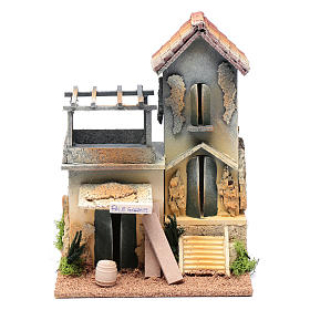 Nativity scene setting with carpenter's workshop  25x20x15 cm s1