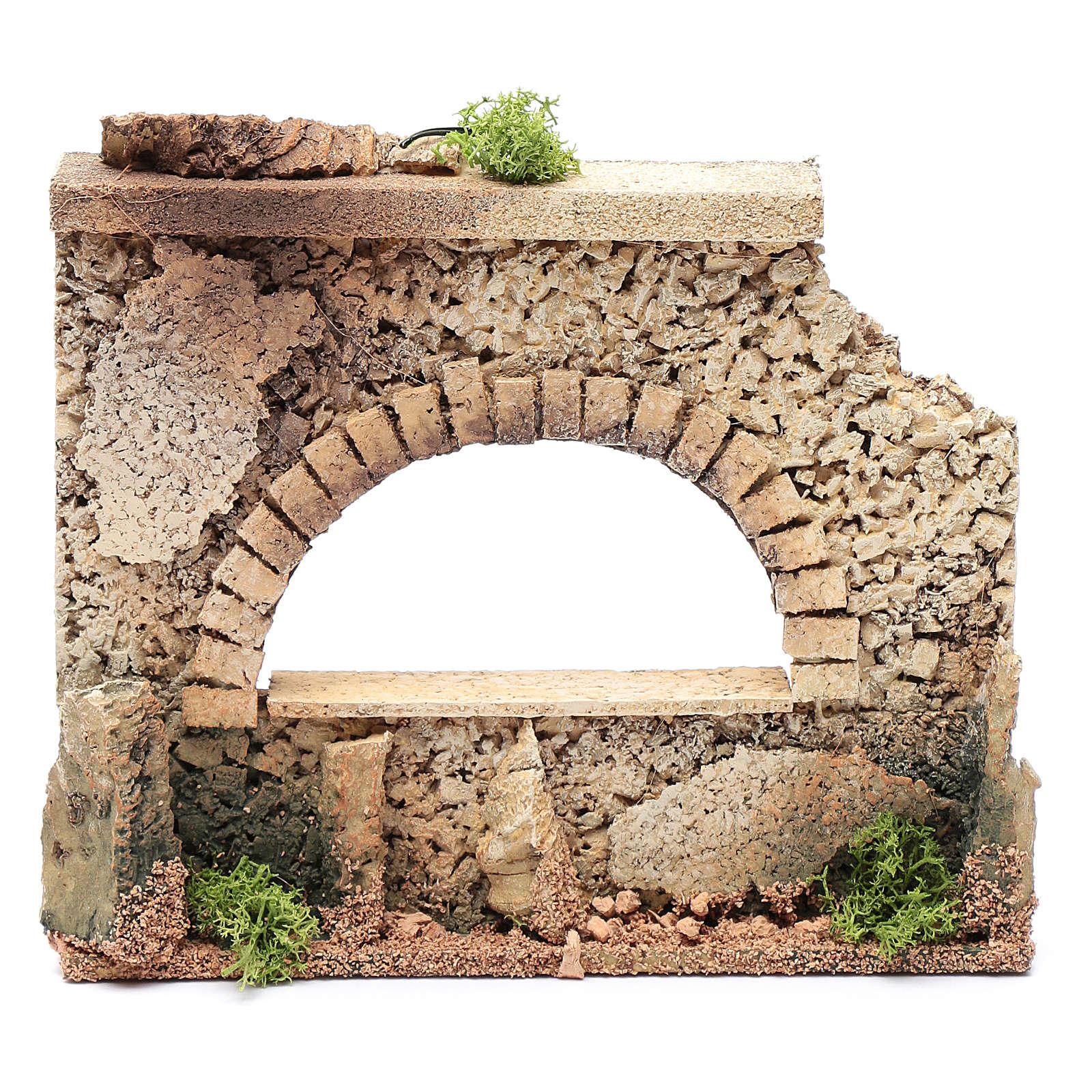 Mauer mit Bogen Fenster 15x20x5cm für Krippe 4