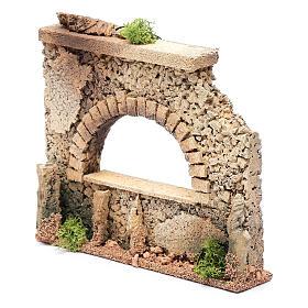Mauer mit Bogen Fenster 15x20x5cm für Krippe s2