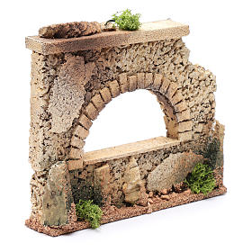 Nativity scene surrounding wall with arched window  15x20x5 cm s3