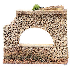 Nativity scene surrounding wall with arched window  15x20x5 cm s4