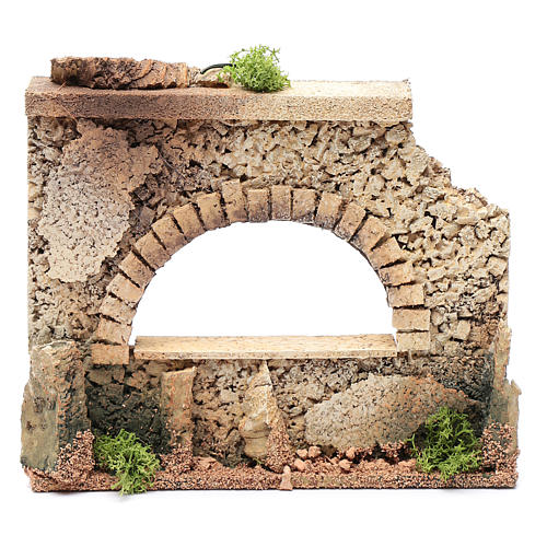 Nativity scene surrounding wall with arched window  15x20x5 cm 1
