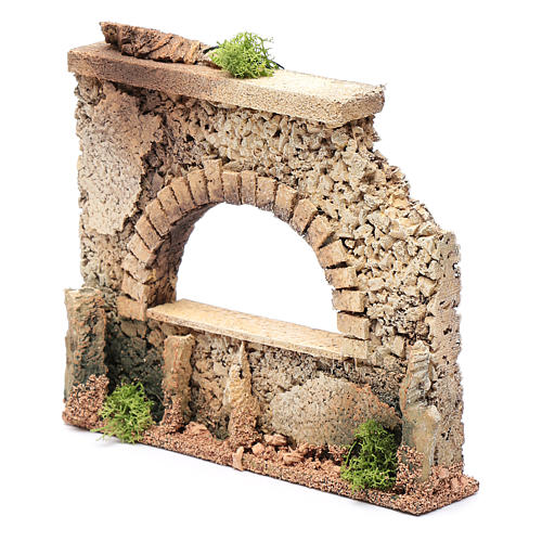 Nativity scene surrounding wall with arched window  15x20x5 cm 2