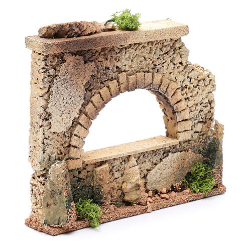Nativity scene surrounding wall with arched window  15x20x5 cm 3