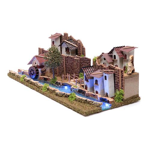 Ambientación con pueblo y río luminoso 20x55x25 cm 2