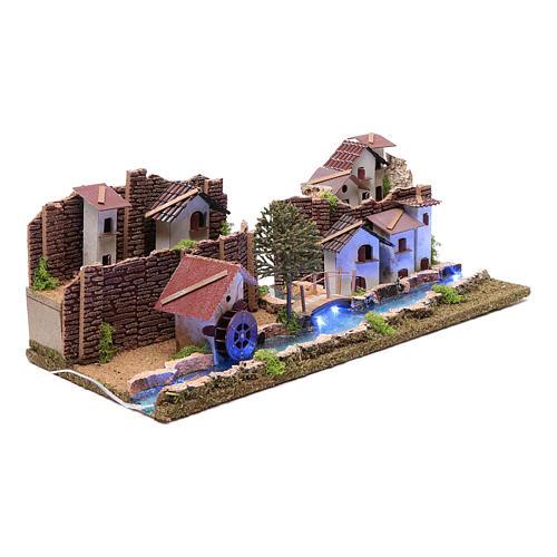 Ambientación con pueblo y río luminoso 20x55x25 cm 3