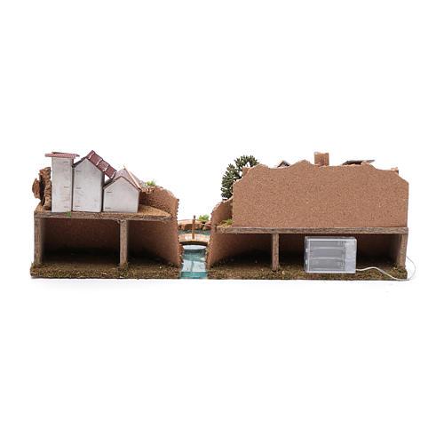 Ambientazione villaggio su fiume luminoso 20x55x25 cm 4
