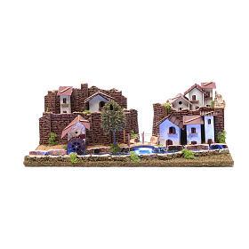 Cenário aldeia na ribeira luminosa 20x55x25 cm s1