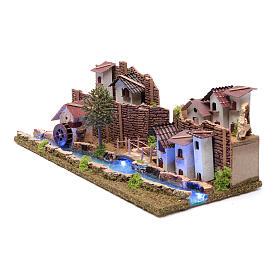 Cenário aldeia na ribeira luminosa 20x55x25 cm s2