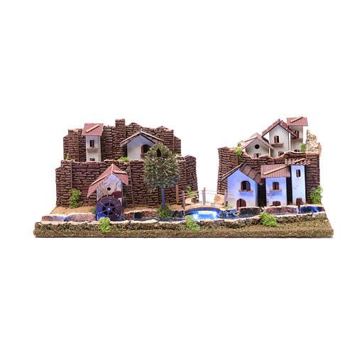 Cenário aldeia na ribeira luminosa 20x55x25 cm 1
