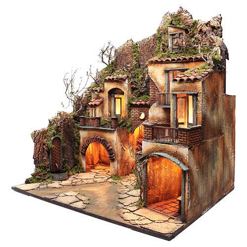 Borgo presepe napoletano con fontana 82X80X60 cm 2