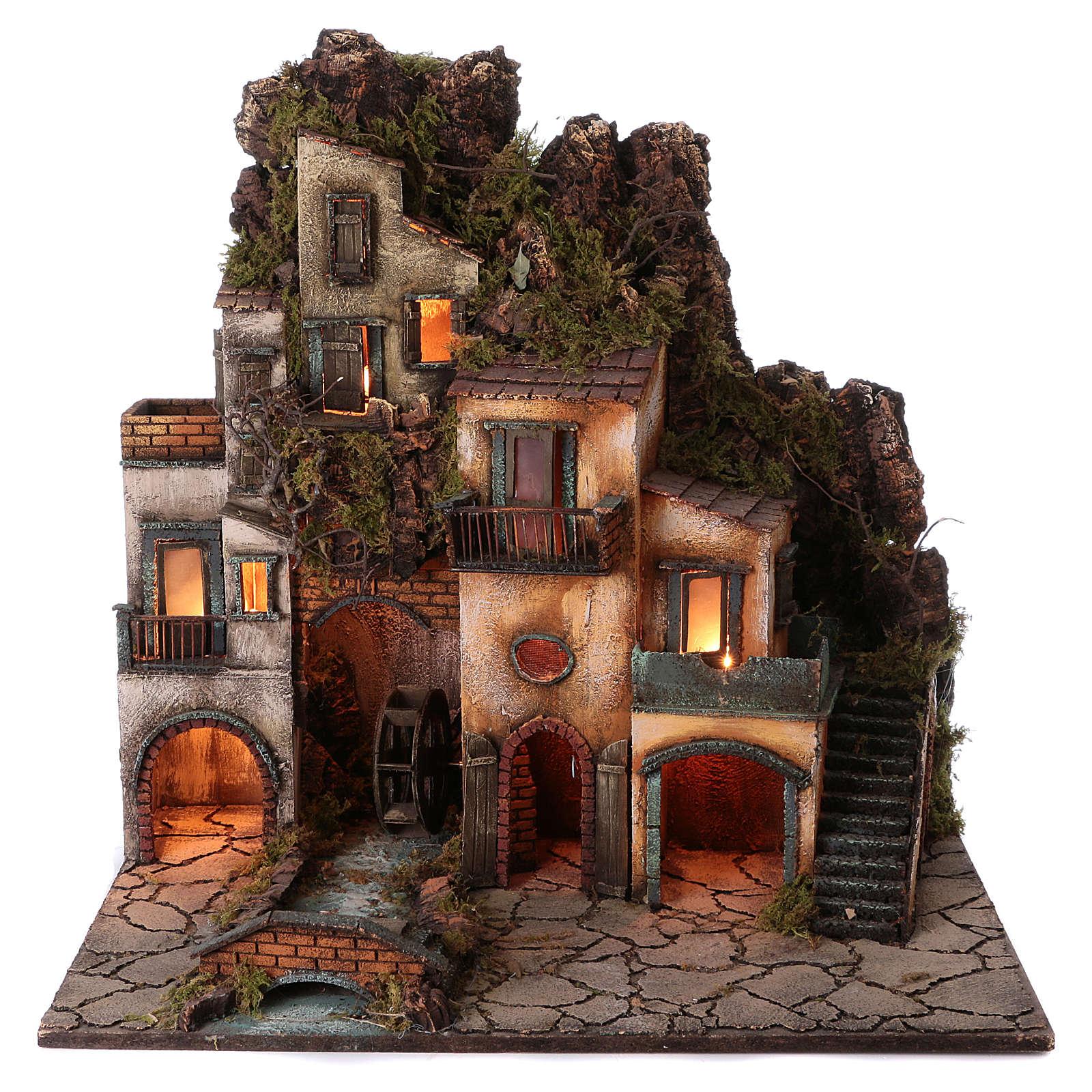 Borgo presepe napoletano con mulino 78X70X50 cm 4