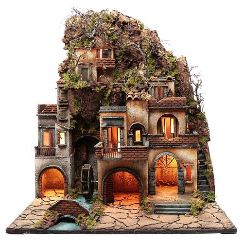 Borgo presepe napoletano con mulino 78X70X50 cm 1