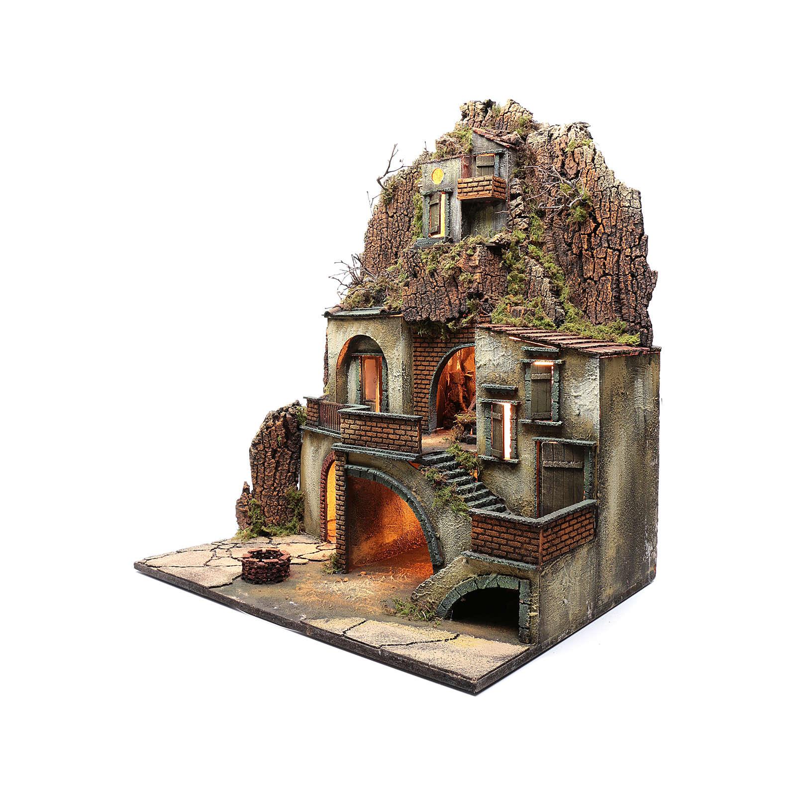Borgo presepe napoletano con pozzo 80X70X50 cm 4