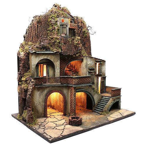 Borgo presepe napoletano con pozzo 80X70X50 cm 3