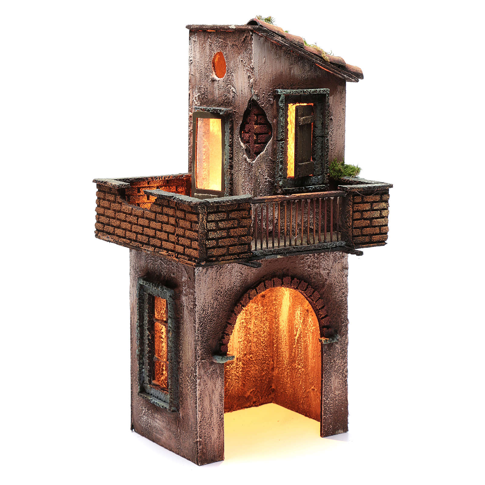Neapolitan nativity scene setting with wooden house 41X22X20 cm 4