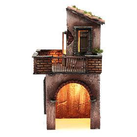 Neapolitan nativity scene setting with wooden house 41X22X20 cm s1