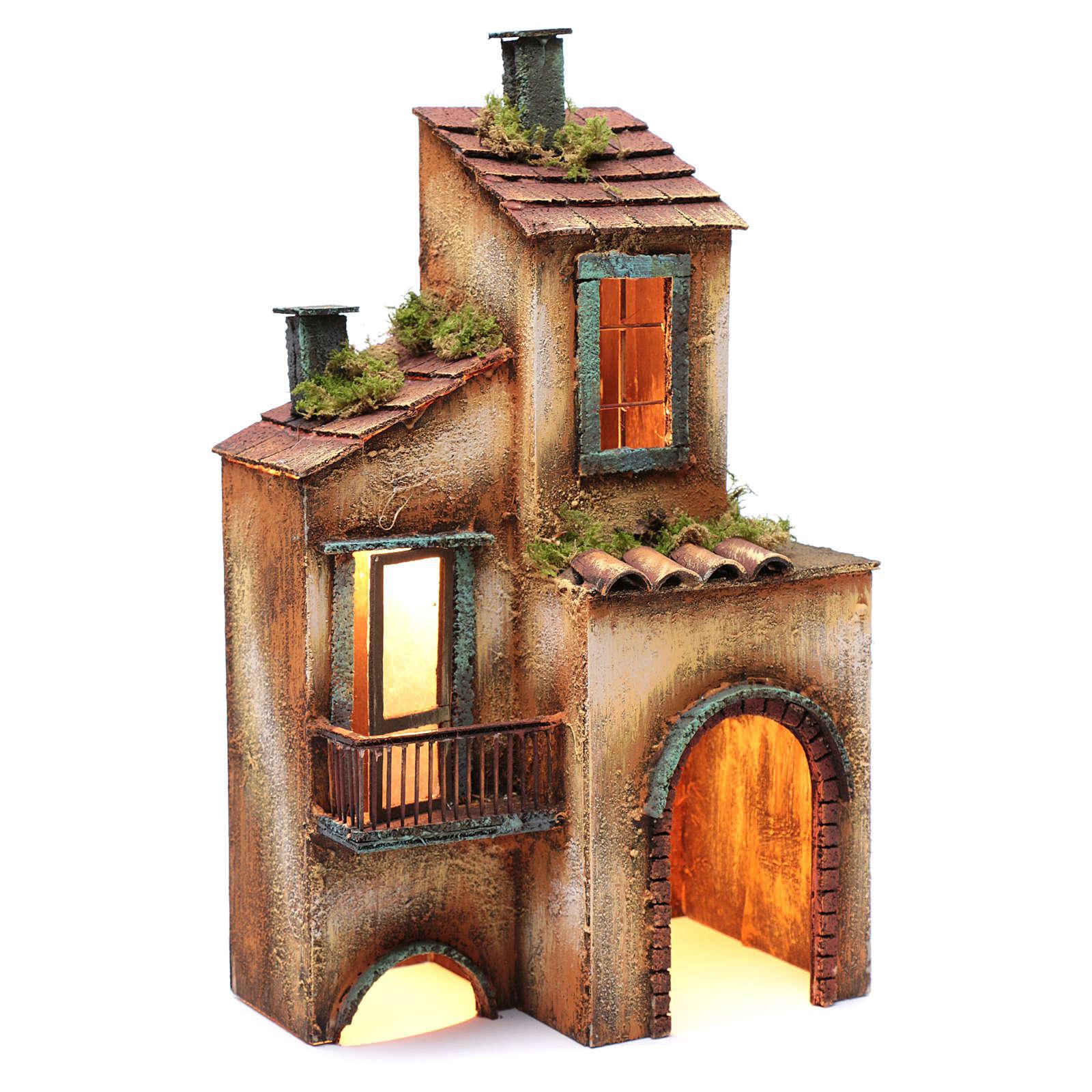Wooden house for Neapolitan nativity scene 41X25X16 cm 4
