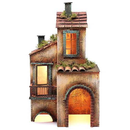 Casa in legno per presepe napoletano 41X25X16 cm 1