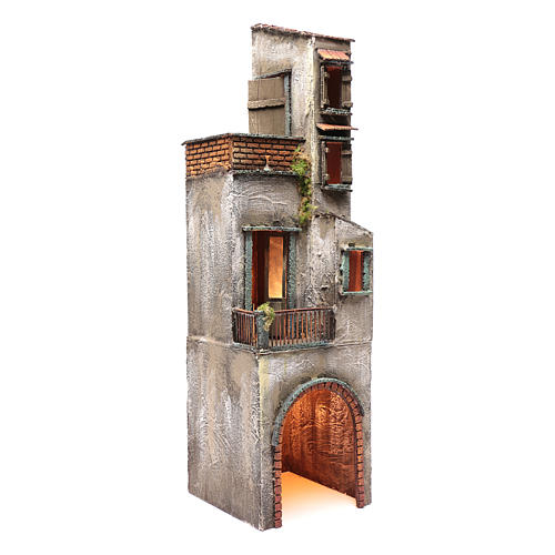 Casa in legno per presepe napoletano 73X20X21 cm 3