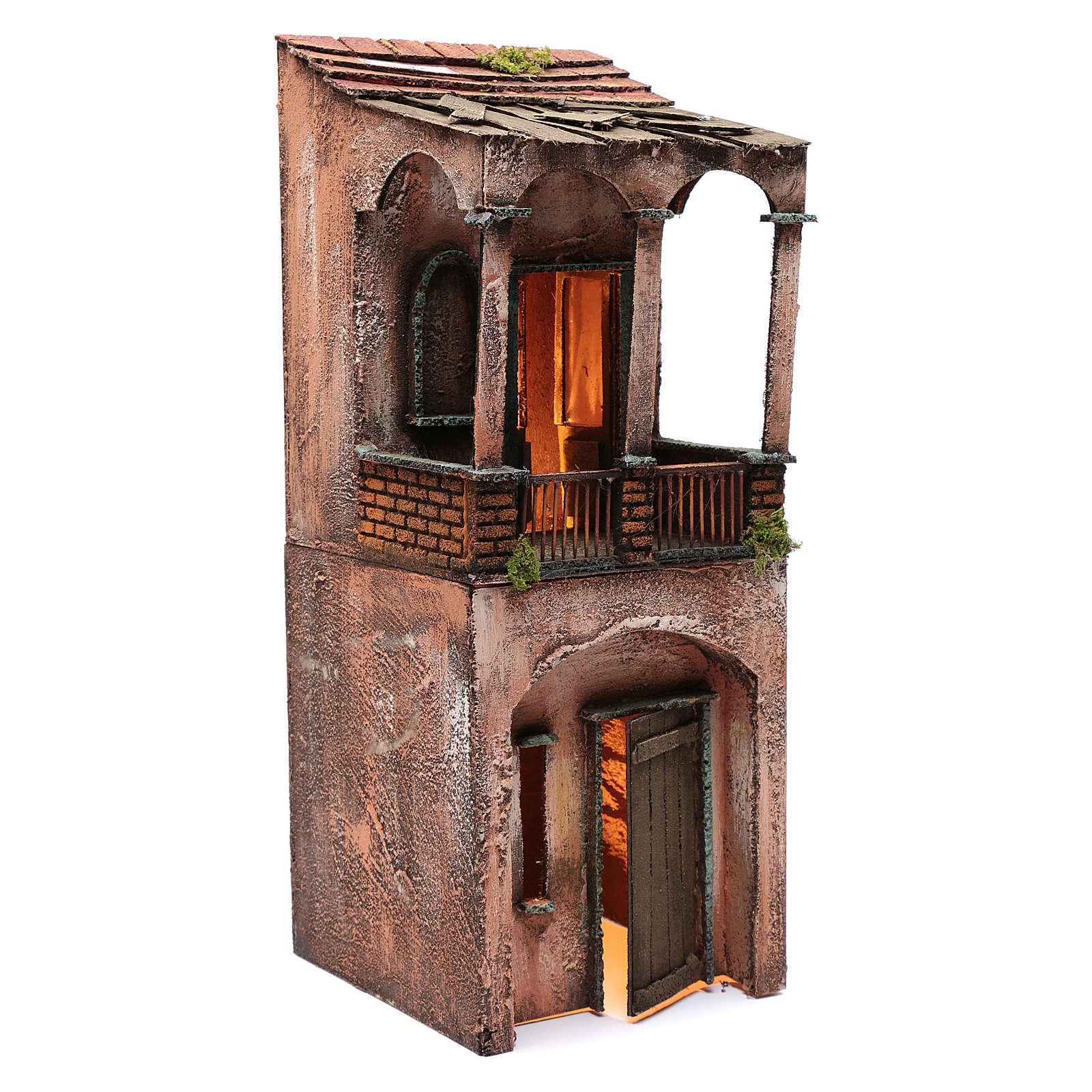 Maison bois illuminée pour crèche napolitaine 53x20x21 cm 4